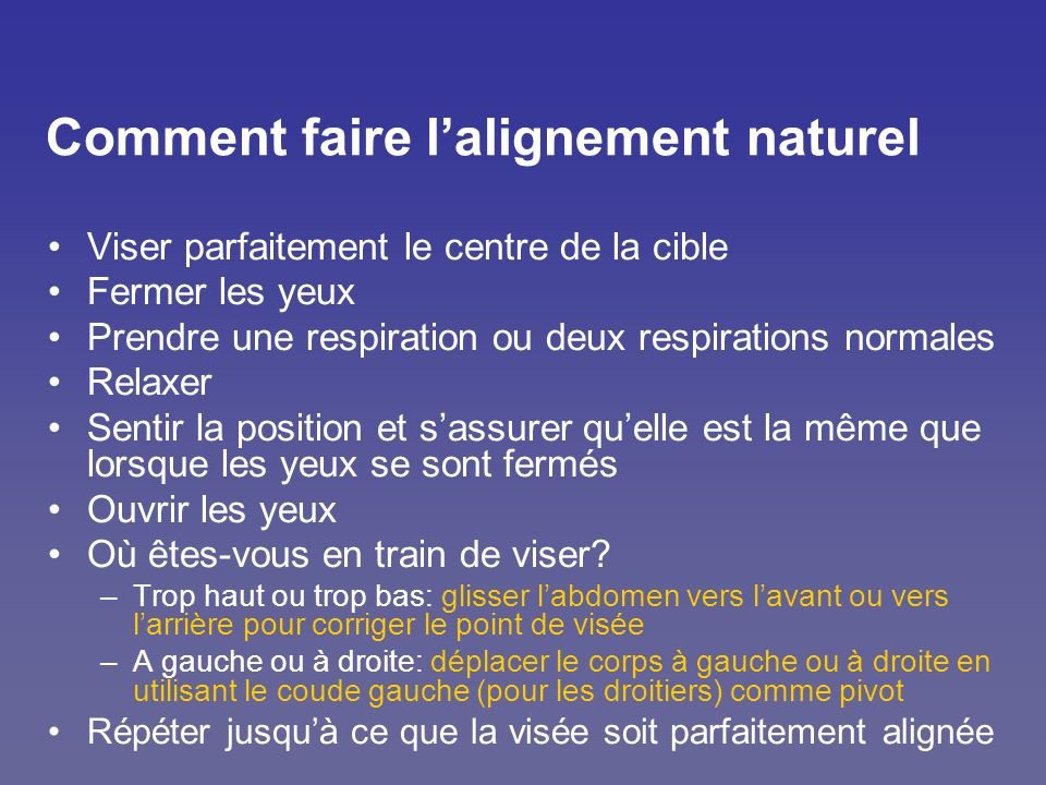 Comment faire l'alignement naturel