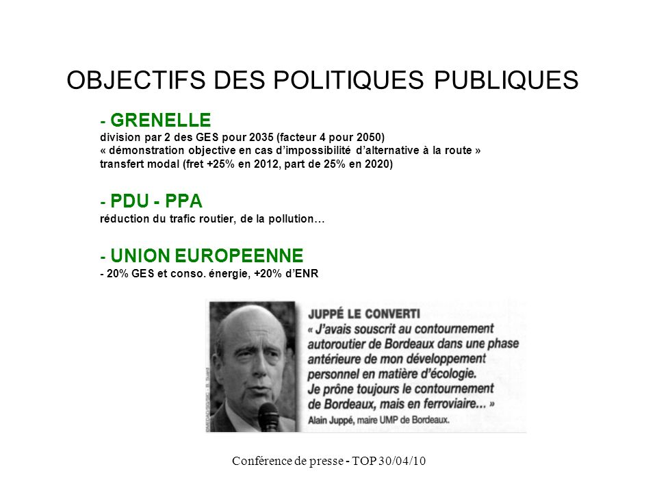 OBJECTIFS DES POLITIQUES PUBLIQUES
