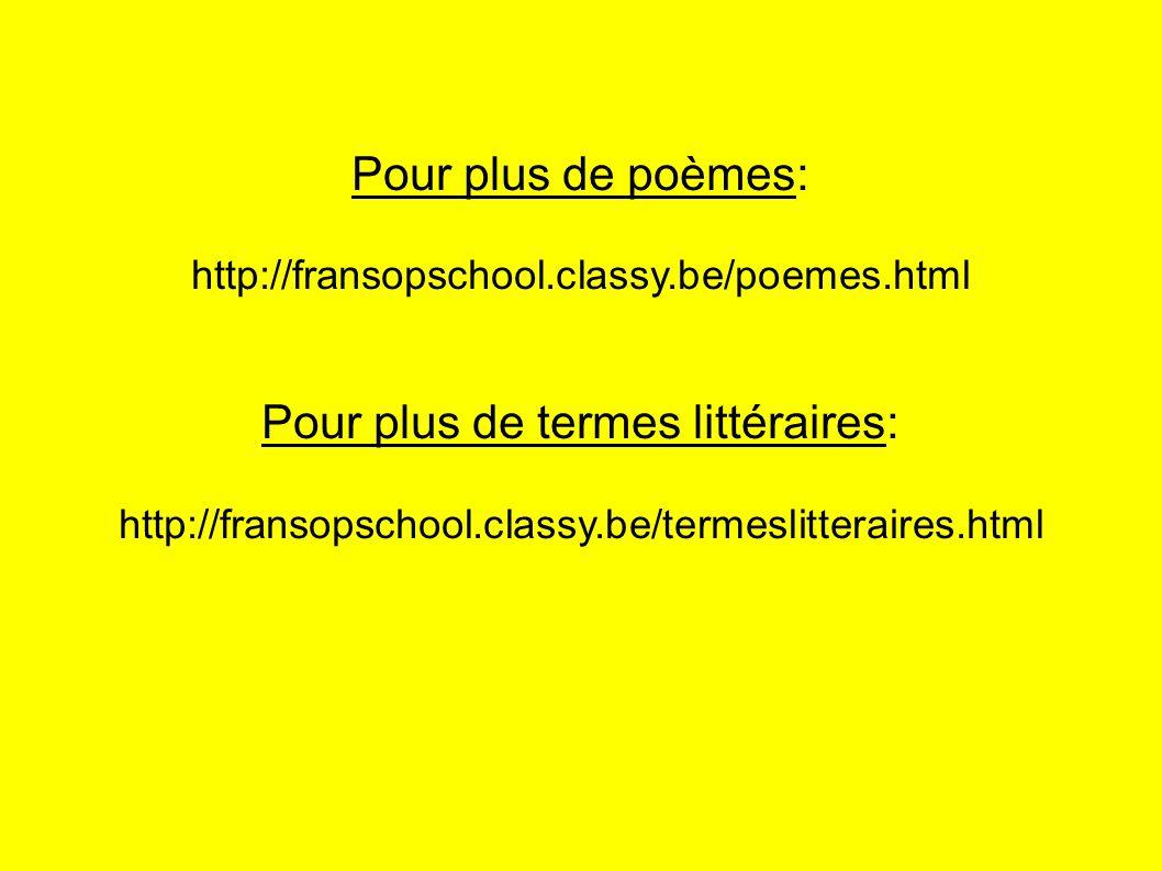 Pour plus de termes littéraires: