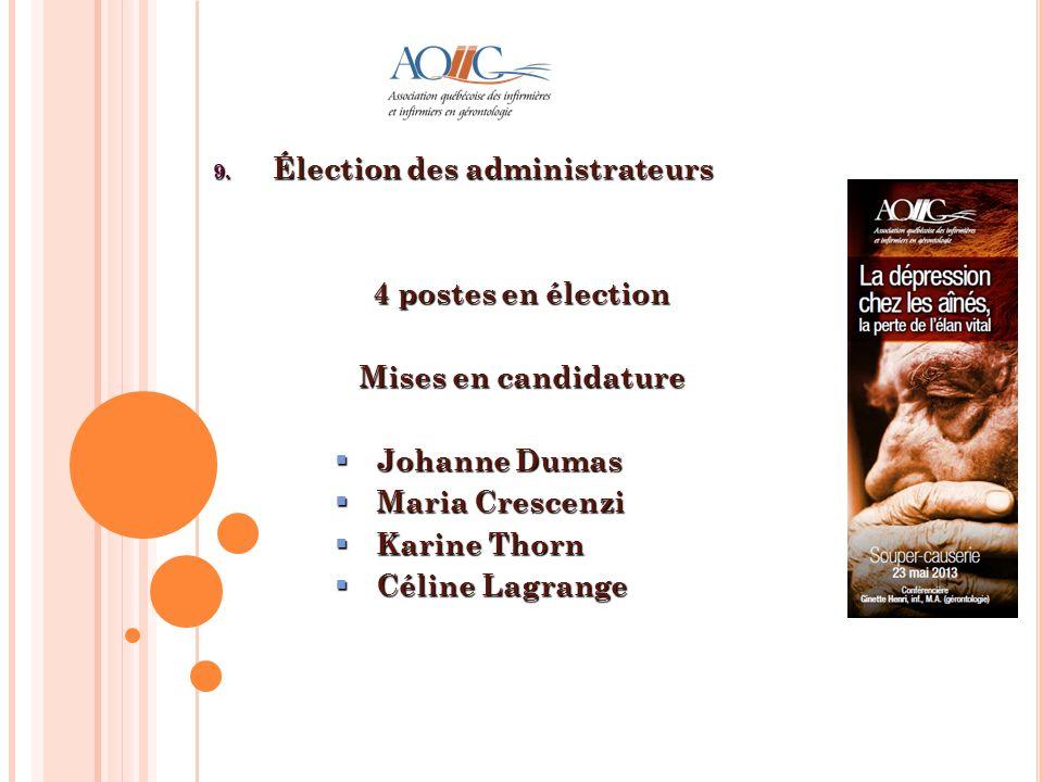 4 postes en élection Mises en candidature