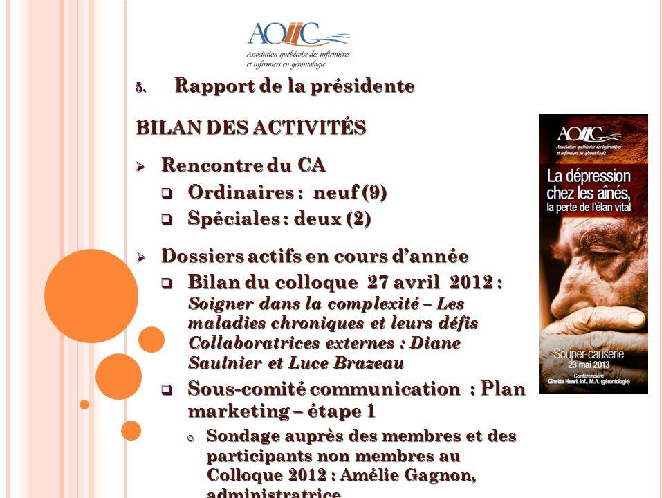 Rapport de la présidente BILAN DES ACTIVITÉS Rencontre du CA