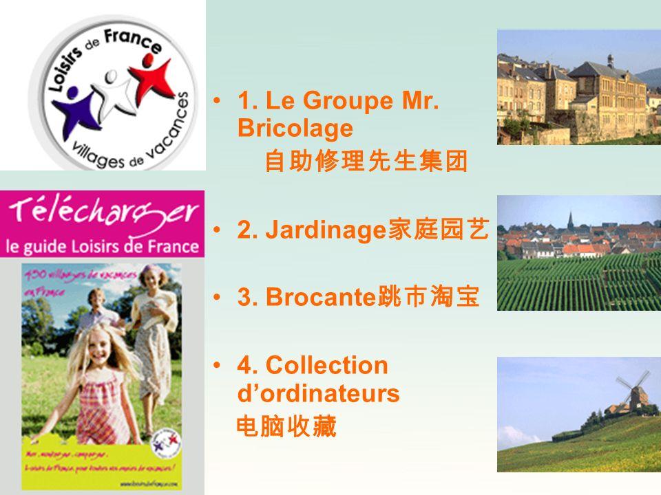 1. Le Groupe Mr. Bricolage 自助修理先生集团. 2. Jardinage家庭园艺. 3. Brocante跳市淘宝. 4. Collection d'ordinateurs.