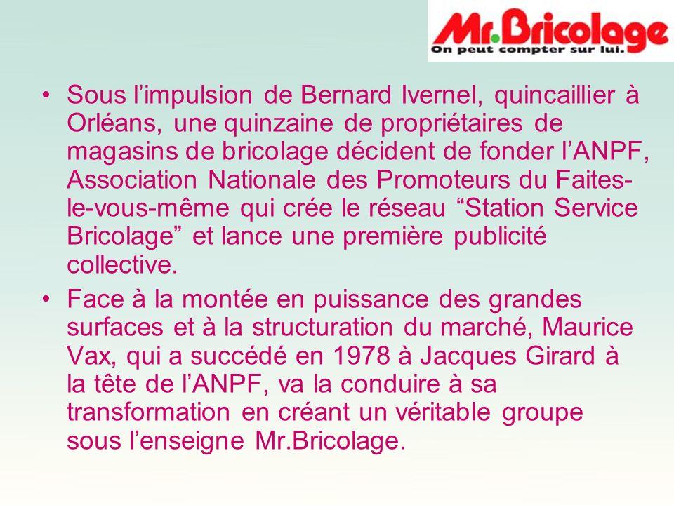 Sous l'impulsion de Bernard Ivernel, quincaillier à Orléans, une quinzaine de propriétaires de magasins de bricolage décident de fonder l'ANPF, Association Nationale des Promoteurs du Faites-le-vous-même qui crée le réseau Station Service Bricolage et lance une première publicité collective.