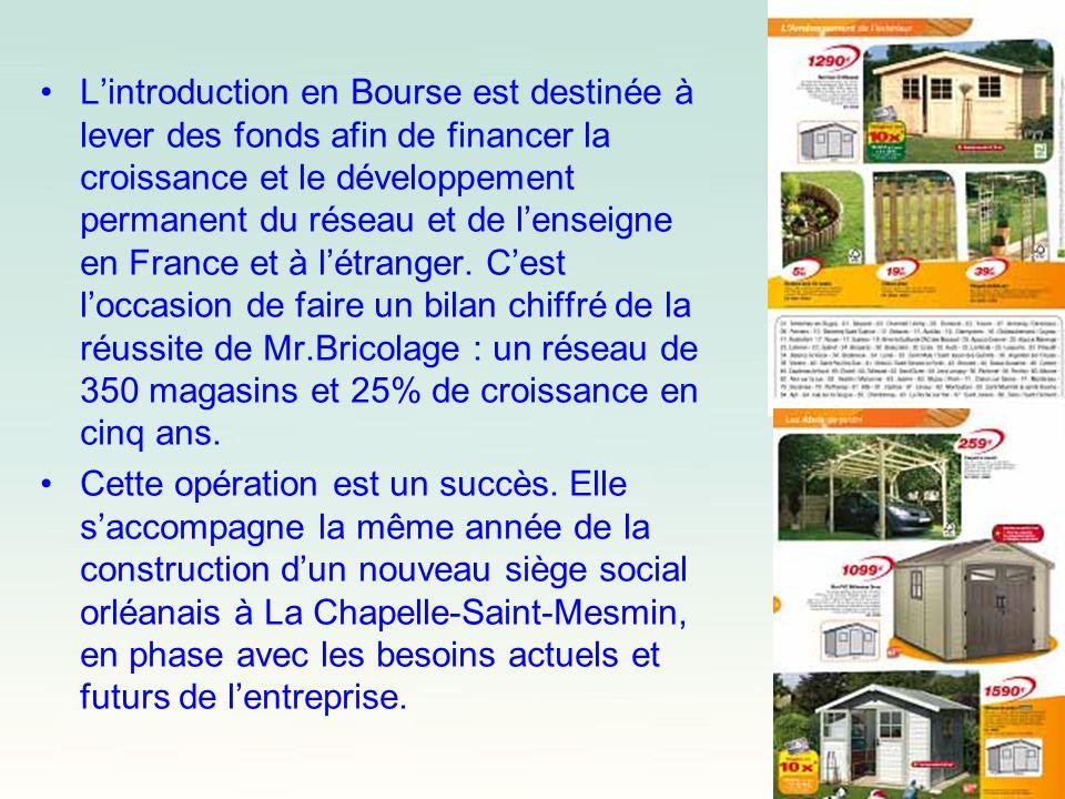 L'introduction en Bourse est destinée à lever des fonds afin de financer la croissance et le développement permanent du réseau et de l'enseigne en France et à l'étranger. C'est l'occasion de faire un bilan chiffré de la réussite de Mr.Bricolage : un réseau de 350 magasins et 25% de croissance en cinq ans.
