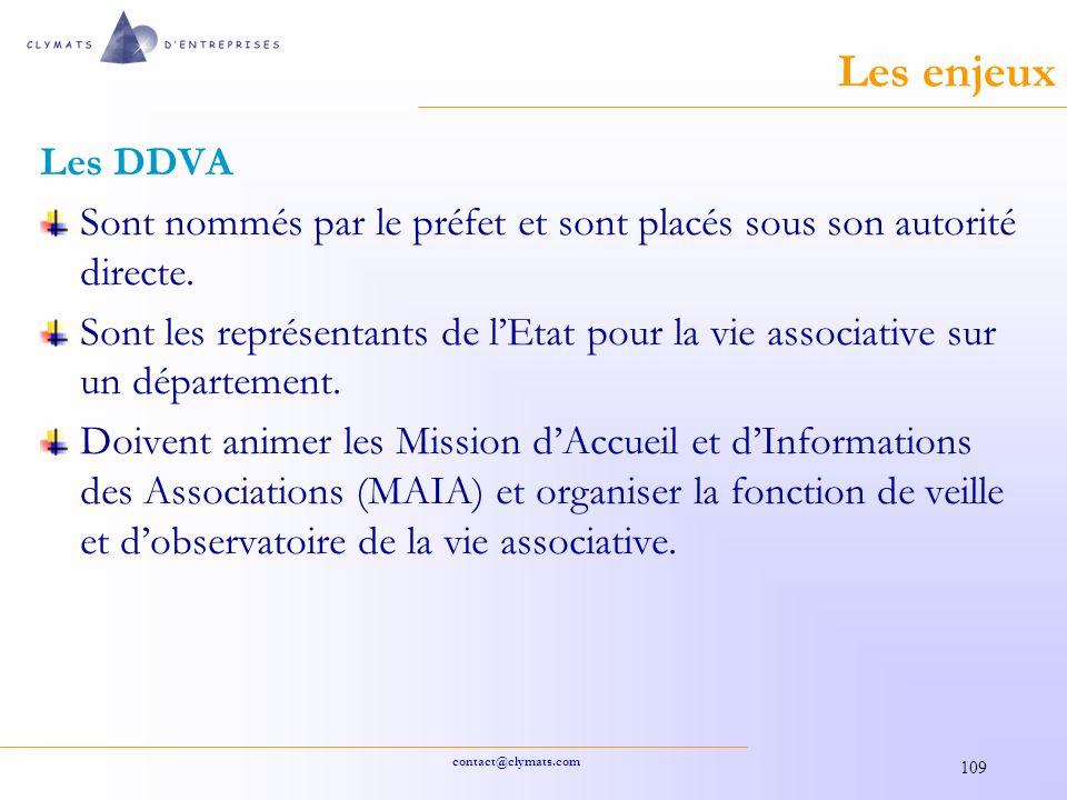 Les enjeux Les DDVA. Sont nommés par le préfet et sont placés sous son autorité directe.