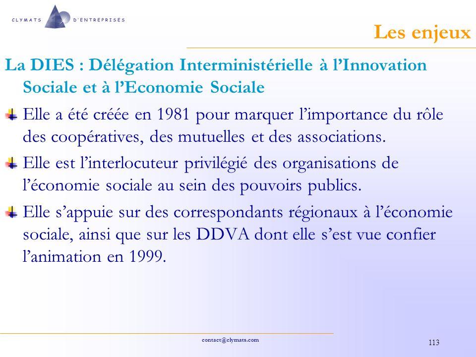 Les enjeux La DIES : Délégation Interministérielle à l'Innovation Sociale et à l'Economie Sociale.
