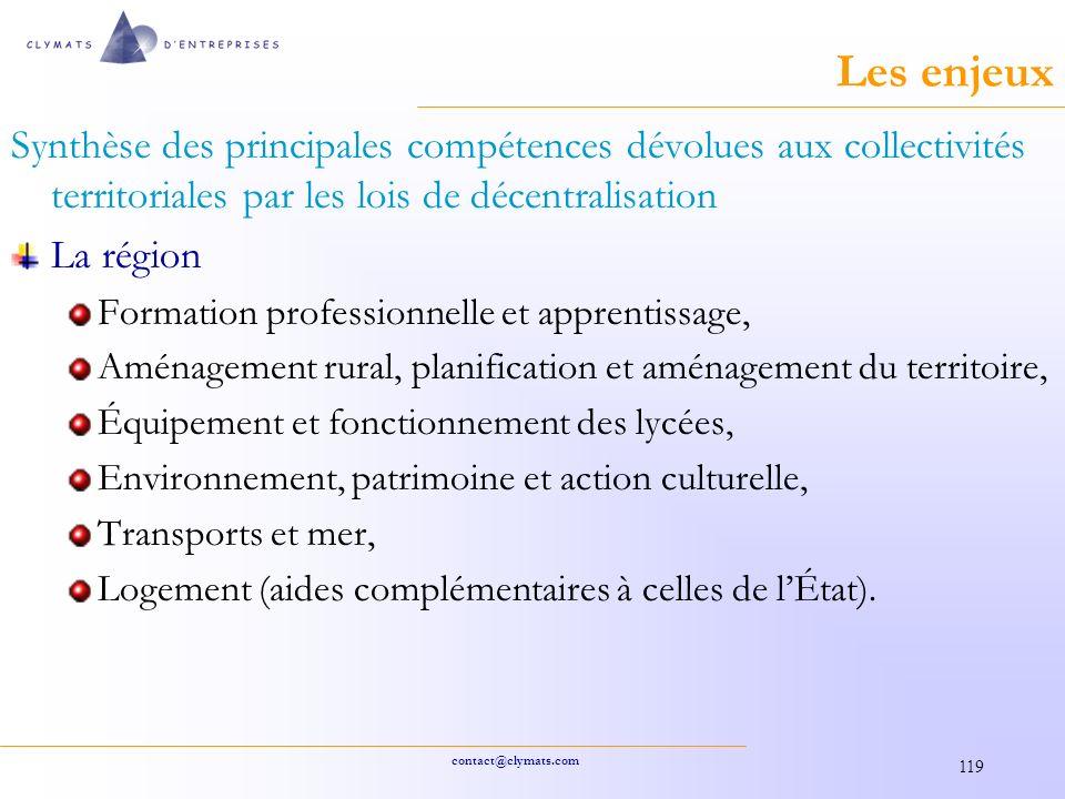 Les enjeux Synthèse des principales compétences dévolues aux collectivités territoriales par les lois de décentralisation.