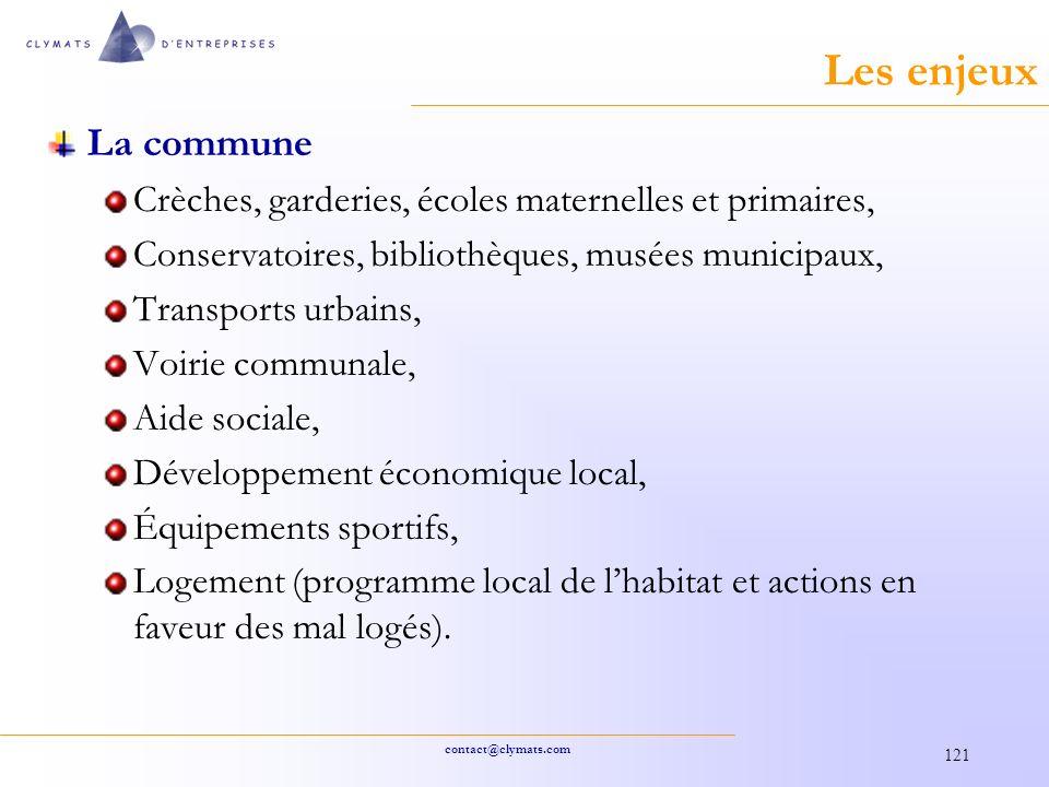 Les enjeux La commune. Crèches, garderies, écoles maternelles et primaires, Conservatoires, bibliothèques, musées municipaux,
