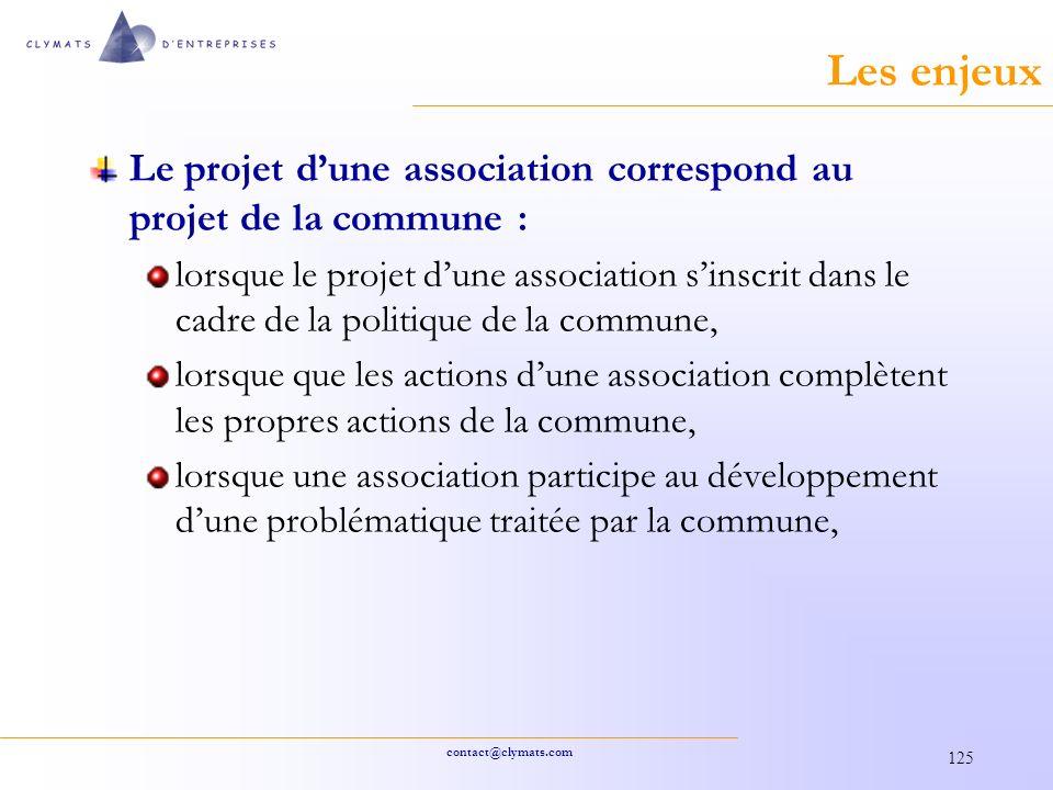 Les enjeux Le projet d'une association correspond au projet de la commune :
