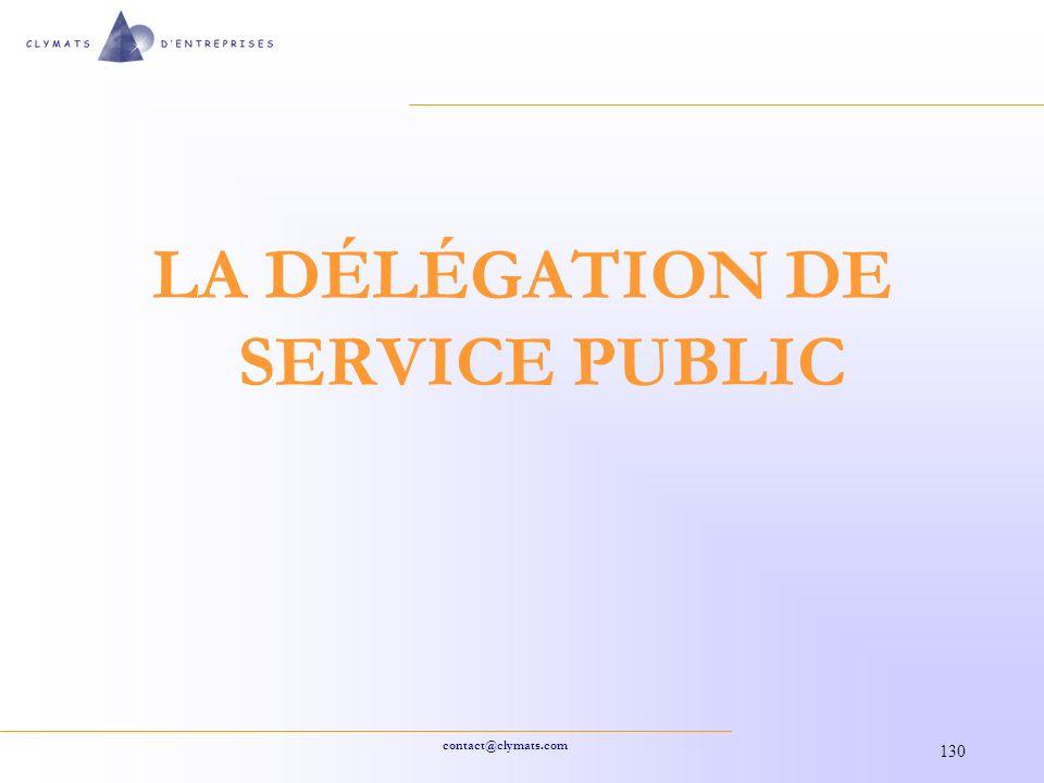 LA DÉLÉGATION DE SERVICE PUBLIC