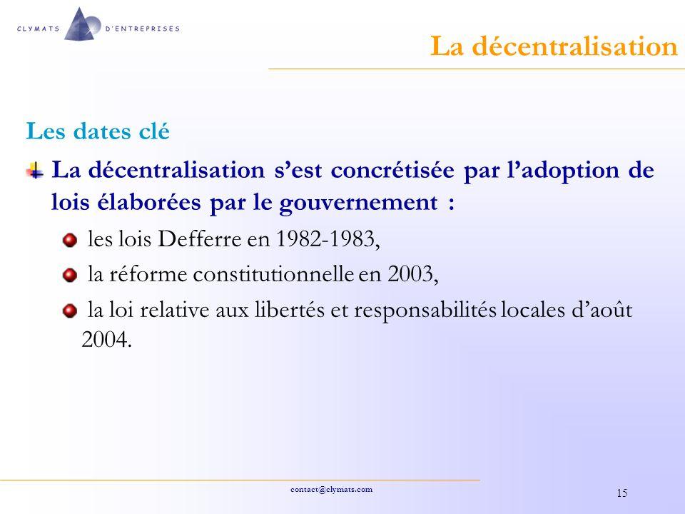 La décentralisation Les dates clé