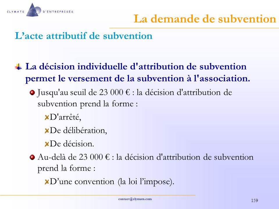 La demande de subvention