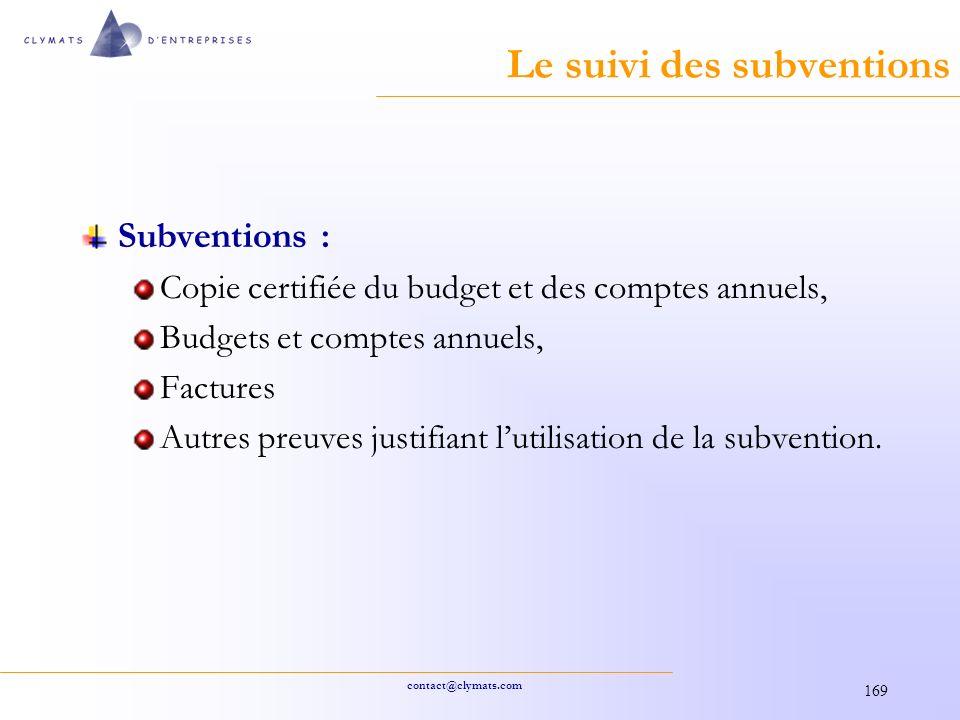 Le suivi des subventions