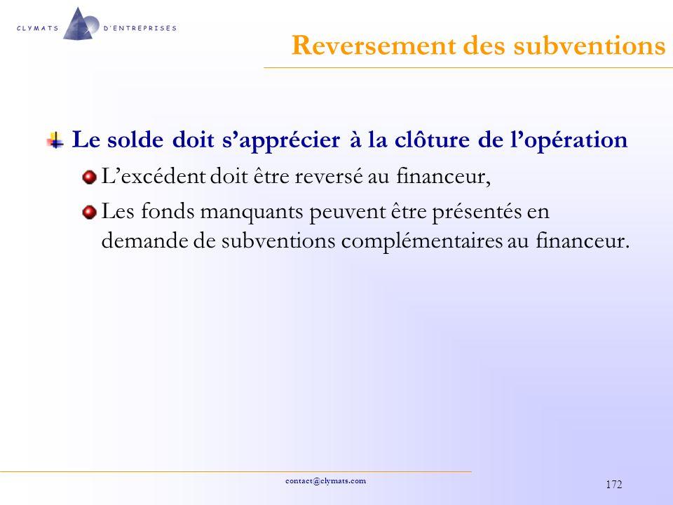 Reversement des subventions