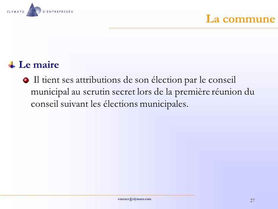 La commune Le maire.