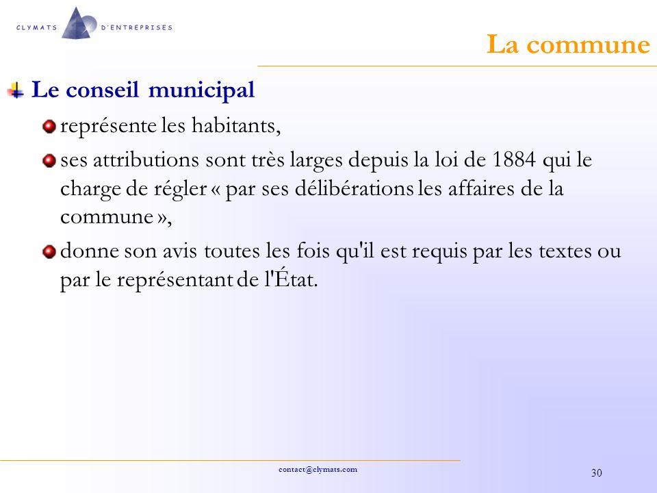 La commune Le conseil municipal représente les habitants,