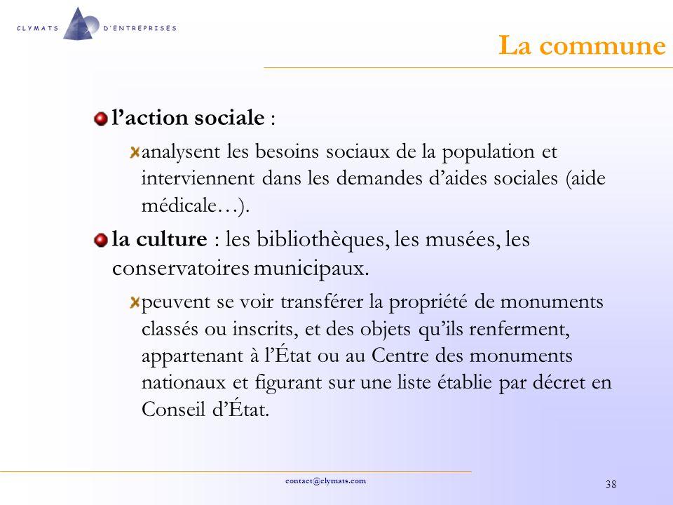 La commune l'action sociale :