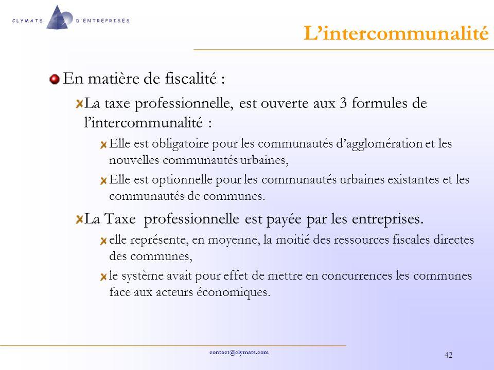 L'intercommunalité En matière de fiscalité :