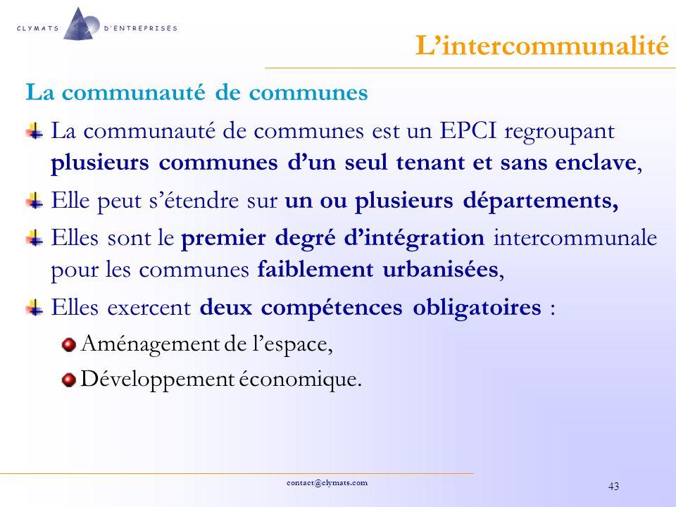 L'intercommunalité La communauté de communes