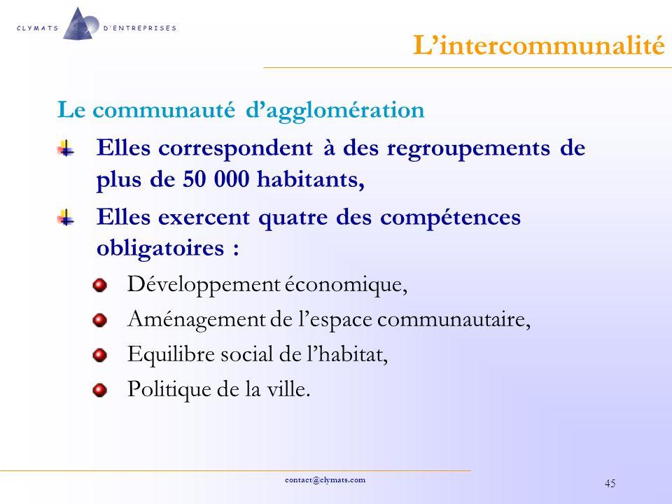 L'intercommunalité Le communauté d'agglomération