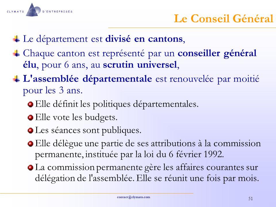 Le Conseil Général Le département est divisé en cantons,