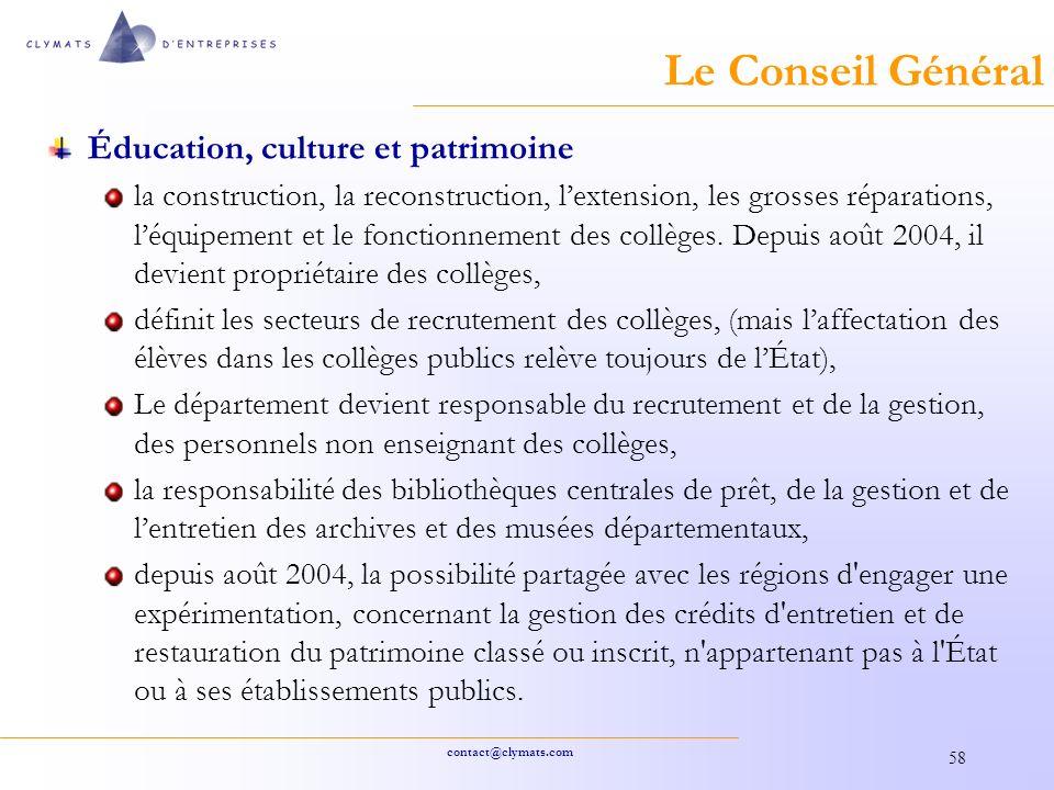 Le Conseil Général Éducation, culture et patrimoine