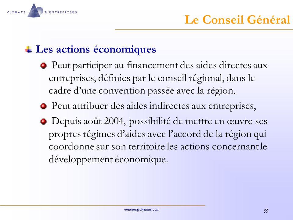 Le Conseil Général Les actions économiques