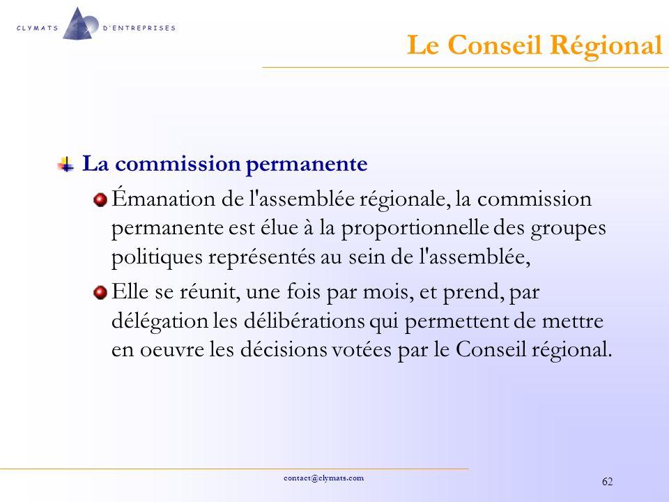 Le Conseil Régional La commission permanente