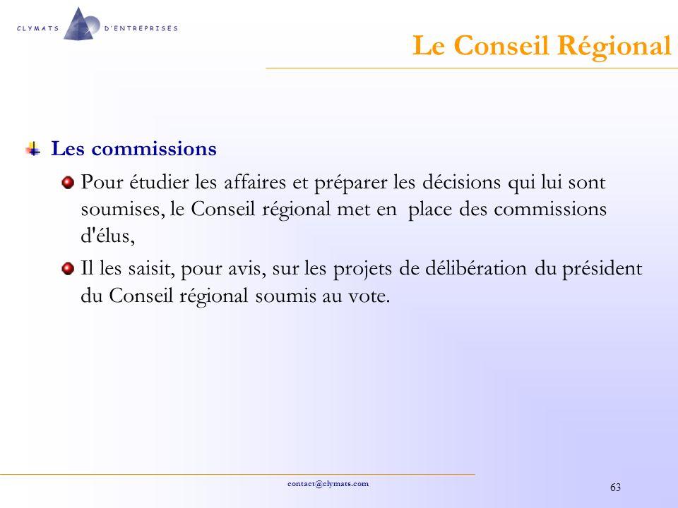 Le Conseil Régional Les commissions