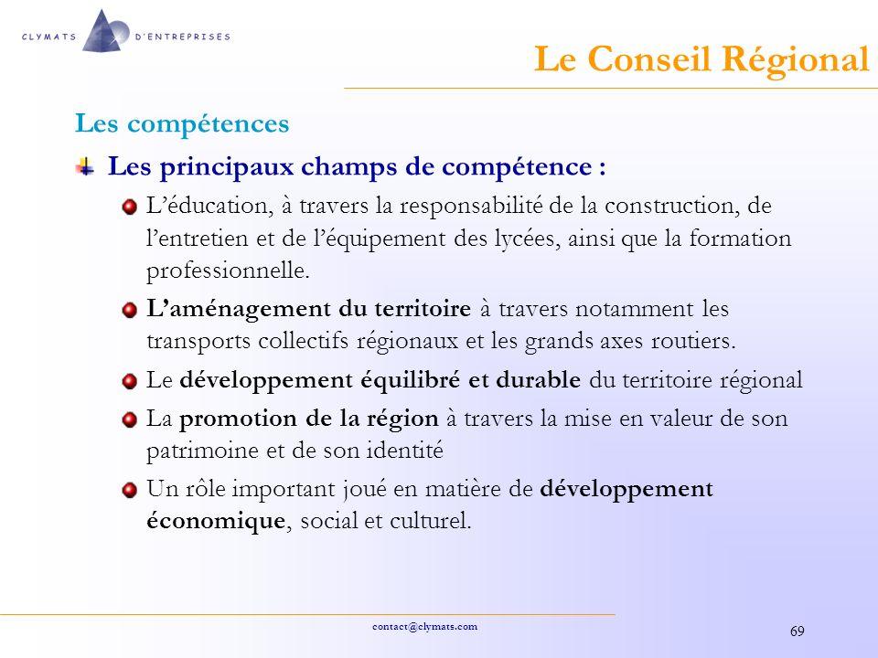 Le Conseil Régional Les compétences
