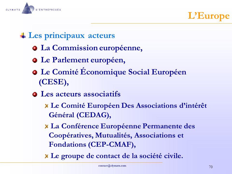 L'Europe Les principaux acteurs La Commission européenne,