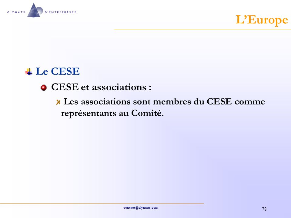L'Europe Le CESE CESE et associations :