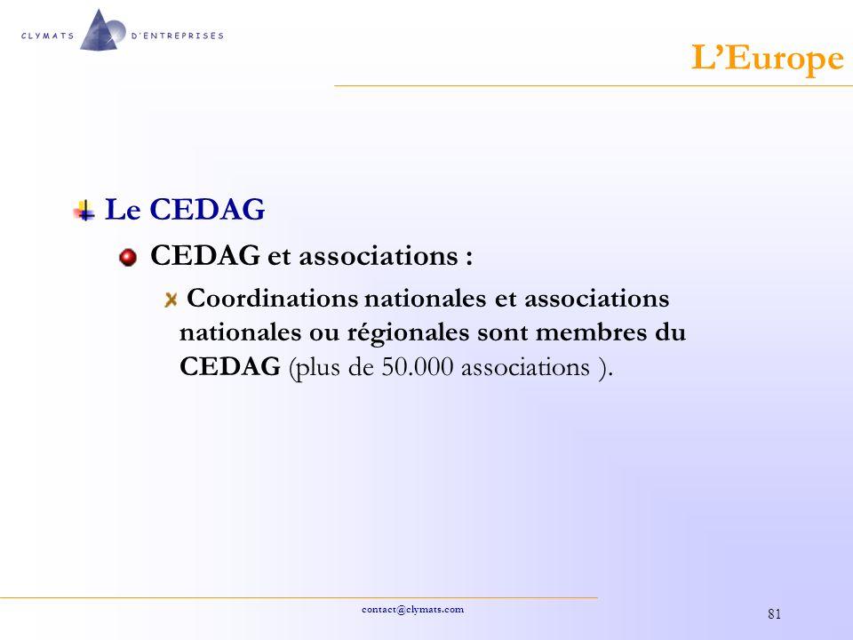 L'Europe Le CEDAG CEDAG et associations :