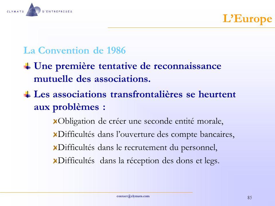 L'Europe La Convention de 1986