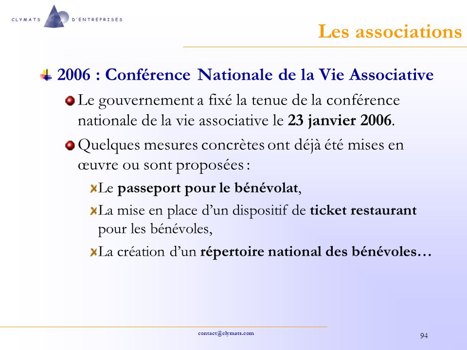 Les associations 2006 : Conférence Nationale de la Vie Associative
