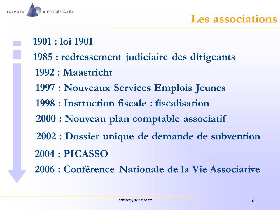 Les associations 1901 : loi 1901. 1985 : redressement judiciaire des dirigeants. 1992 : Maastricht.