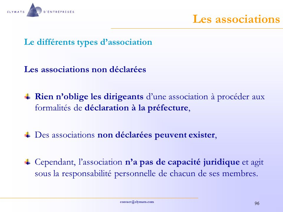 Les associations Le différents types d'association