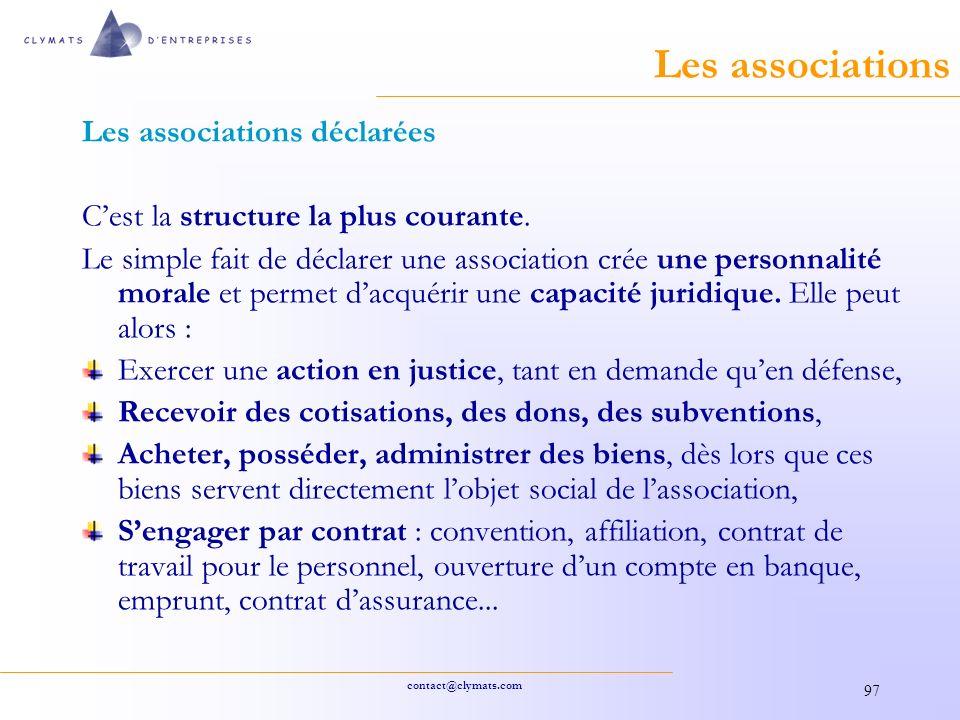 Les associations Les associations déclarées