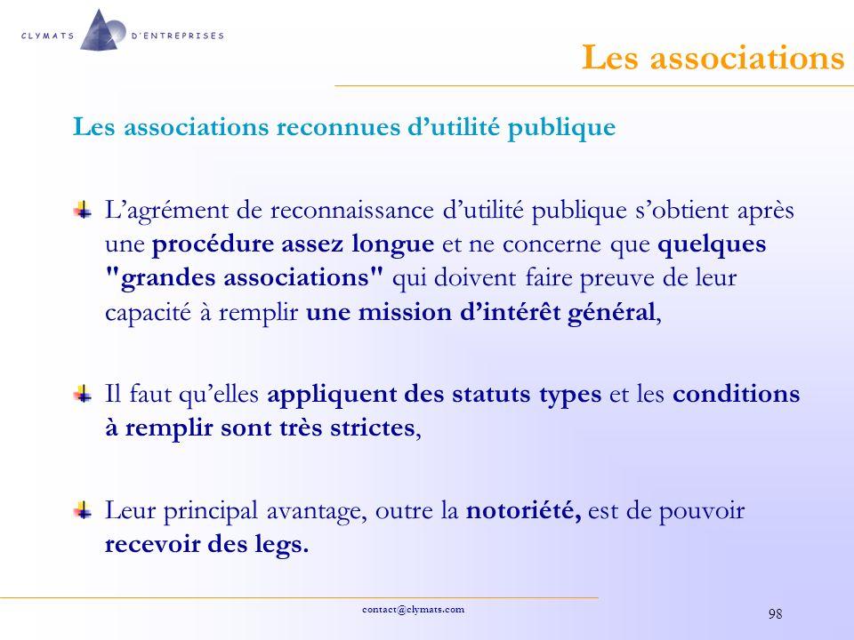 Les associations Les associations reconnues d'utilité publique