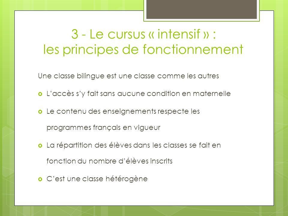 3 - Le cursus « intensif » : les principes de fonctionnement