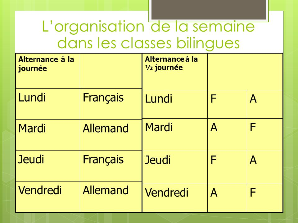 L'organisation de la semaine dans les classes bilingues