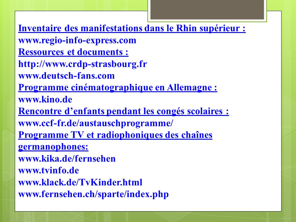 Inventaire des manifestations dans le Rhin supérieur : www