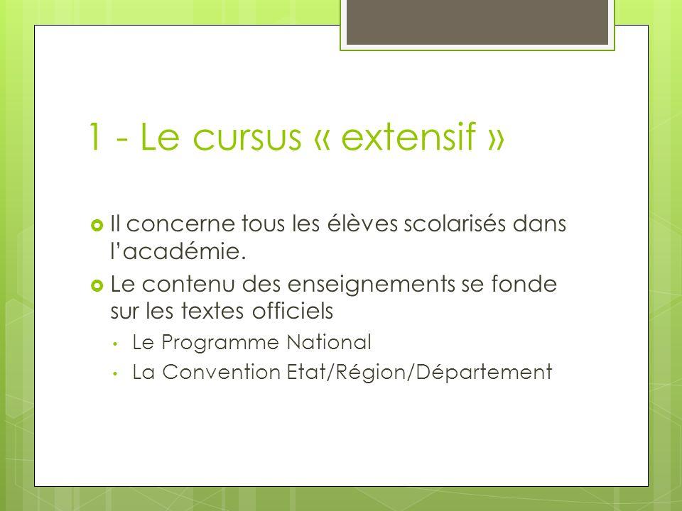 1 - Le cursus « extensif » Il concerne tous les élèves scolarisés dans l'académie. Le contenu des enseignements se fonde sur les textes officiels.