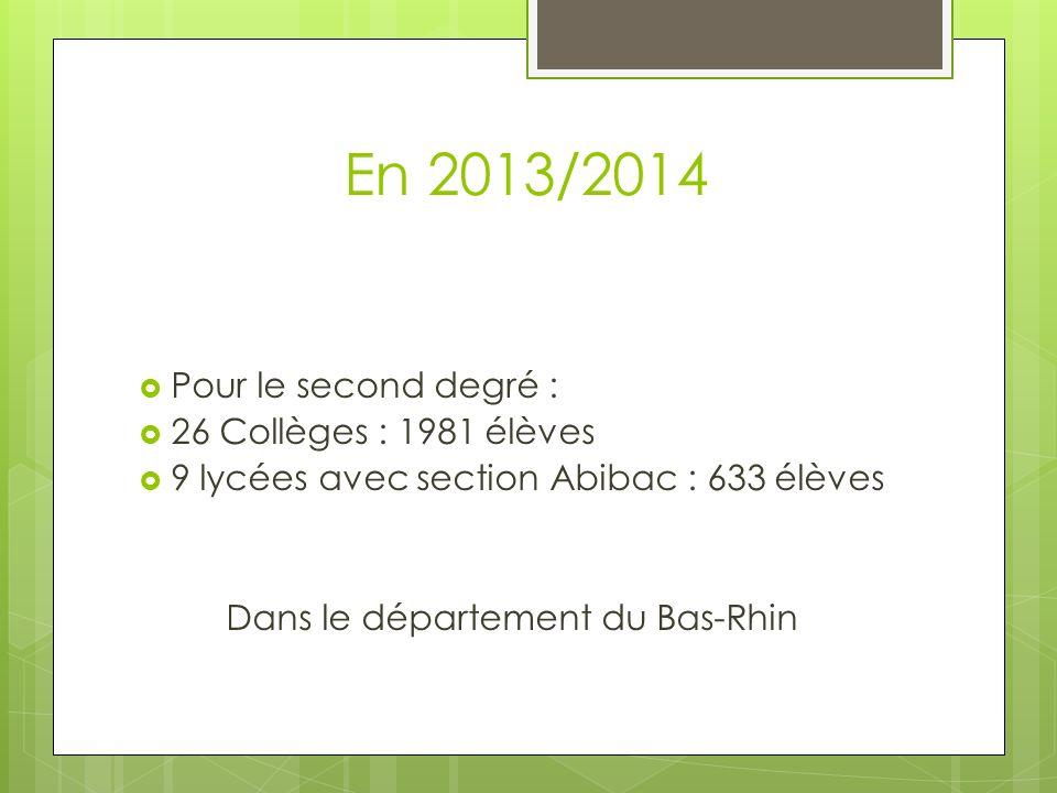 En 2013/2014 Pour le second degré : 26 Collèges : 1981 élèves