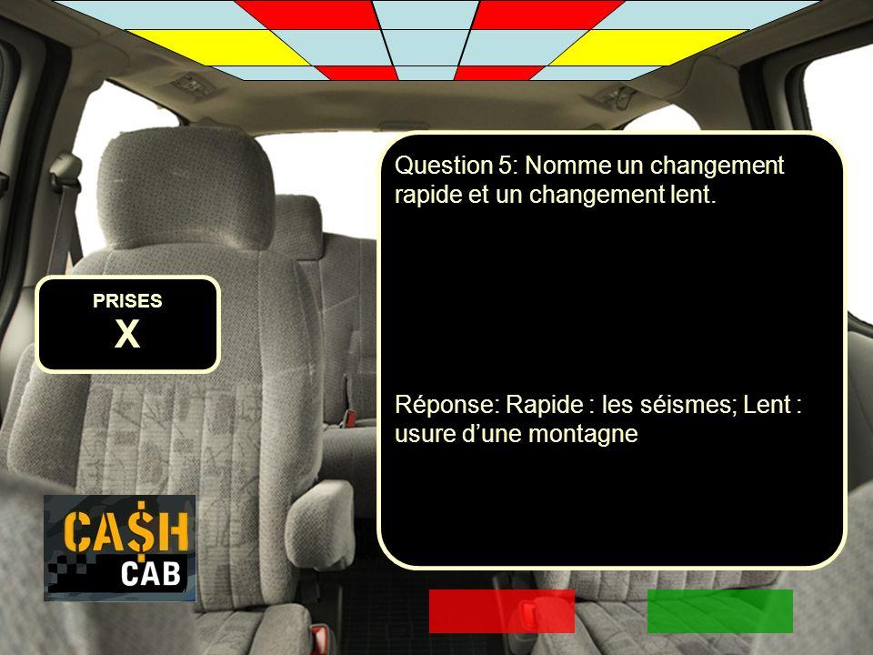 X Question 5: Nomme un changement rapide et un changement lent.