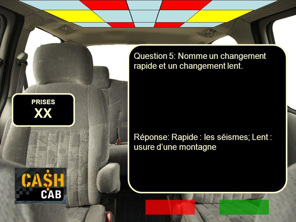 XX Question 5: Nomme un changement rapide et un changement lent.
