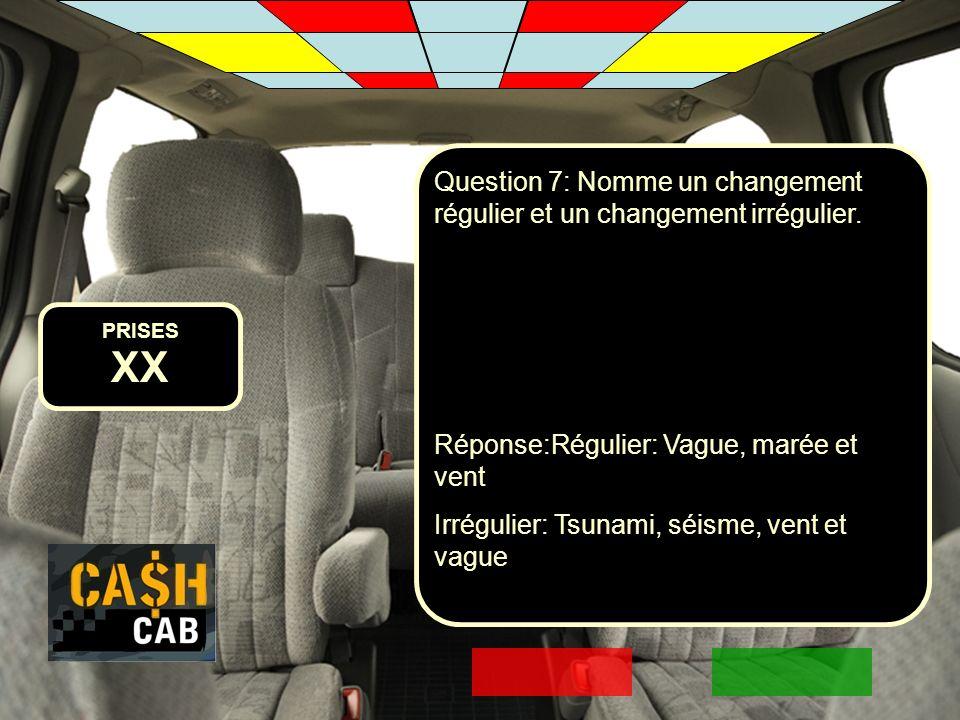 Question 7: Nomme un changement régulier et un changement irrégulier.