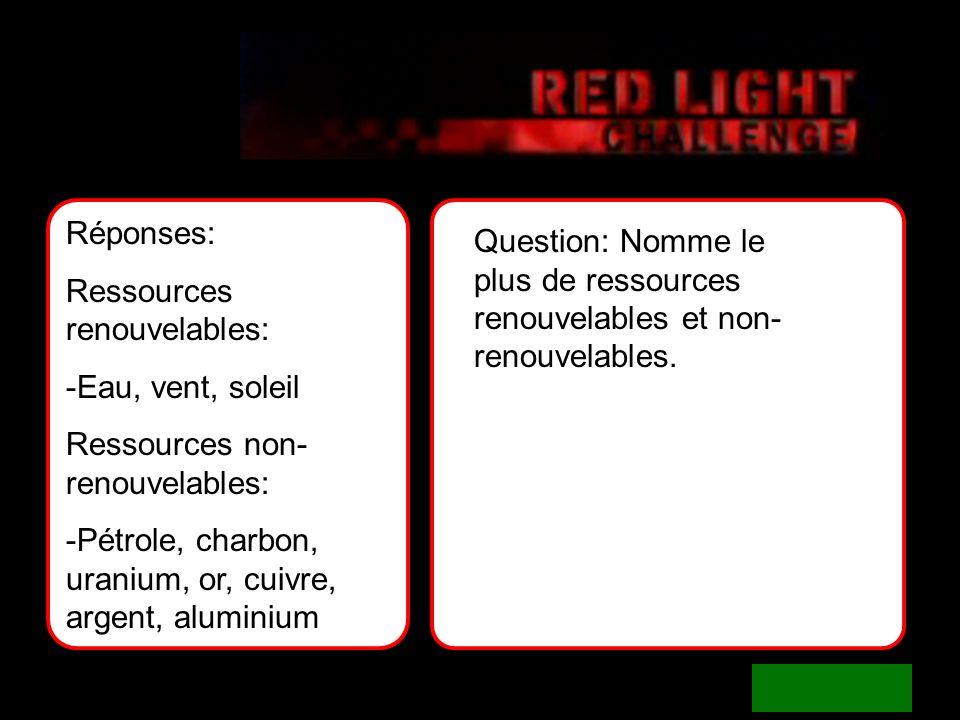 answers Réponses: Ressources renouvelables: -Eau, vent, soleil. Ressources non-renouvelables:
