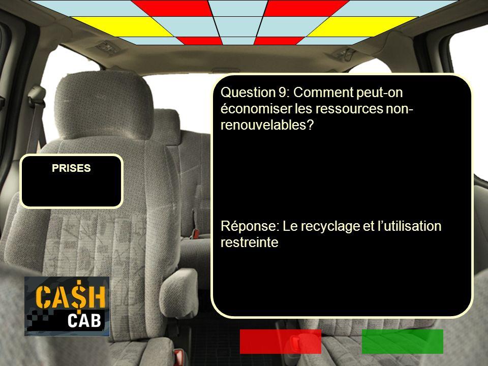 Réponse: Le recyclage et l'utilisation restreinte