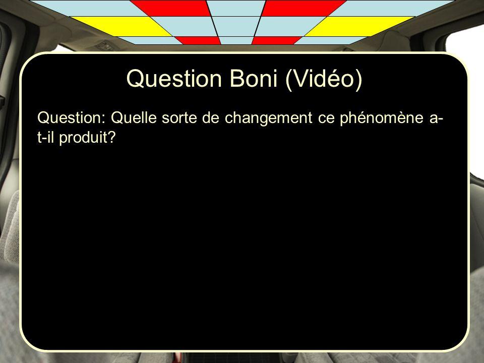 Question Boni (Vidéo) Question: Quelle sorte de changement ce phénomène a-t-il produit